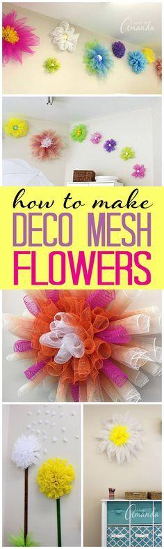 Deco Mesh Flowers: How to make several varieties