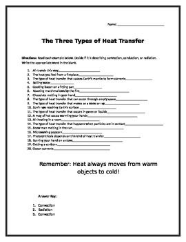 Convection, Conduction, Radiation worksheet | Worksheets, Students ...