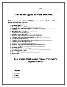 Convection Conduction Radiation Worksheet 6th Grade