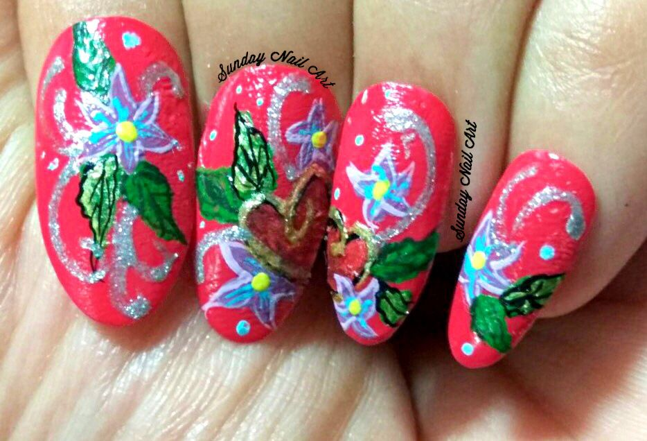 Flowery Hearts Valentines Special Nails By Sunday Nail Art Video On