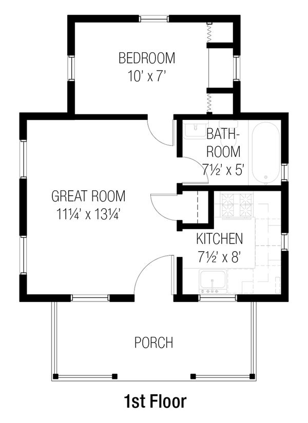 Cottage Style House Plan - 1 Beds 1 Baths 384 Sq/Ft Plan ...