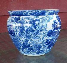 Vintage Satsuma Blue And White Porcelain Fishbowl Planter With