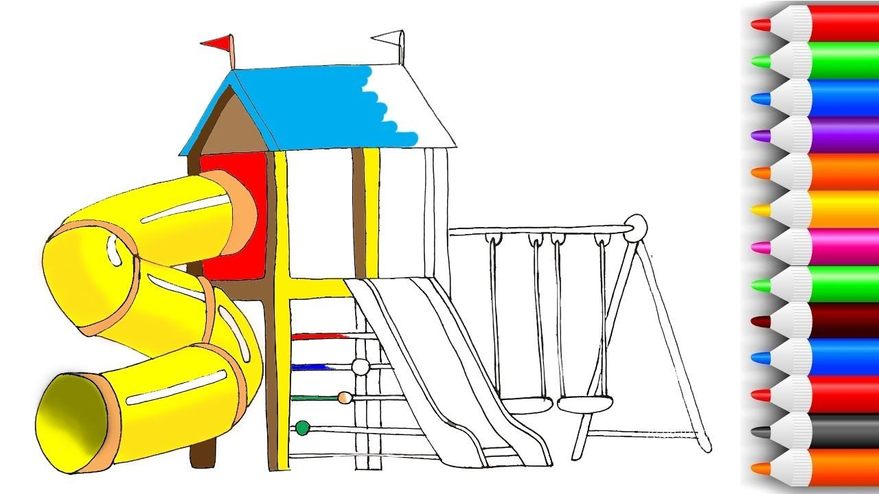 How To Draw And Color Playground Coloring Pages For Kids Learning
