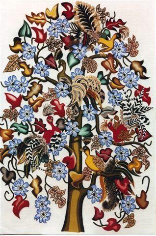 """Broderie Le Minor """"Les Oiseaux Rares"""" sur dessin de  Dom Robert"""