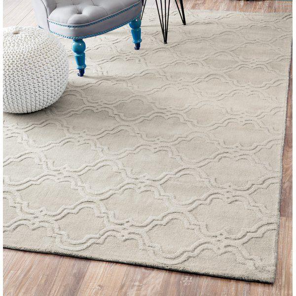 Alonza Geometric Handmade Tufted Wool Ivory Area Rug Handmade Modern Area Rugs Modern Trellis