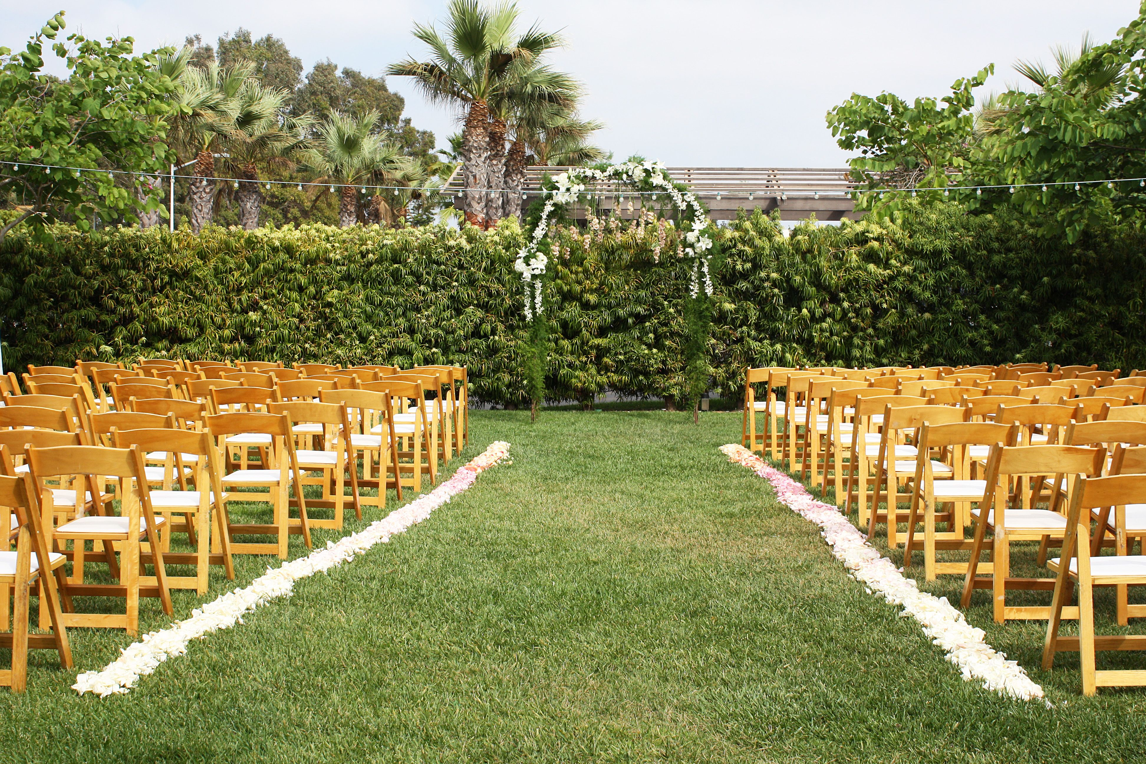 Outdoor Wedding San Diego Flowers Green Arch With White Flowers