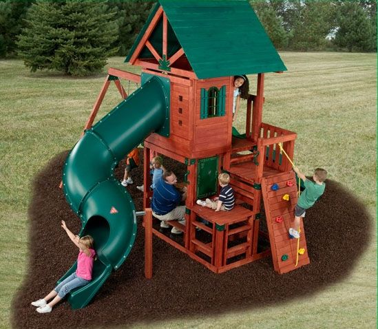 Southampton Wooden Swing Set With Tube Slide Buying This For The