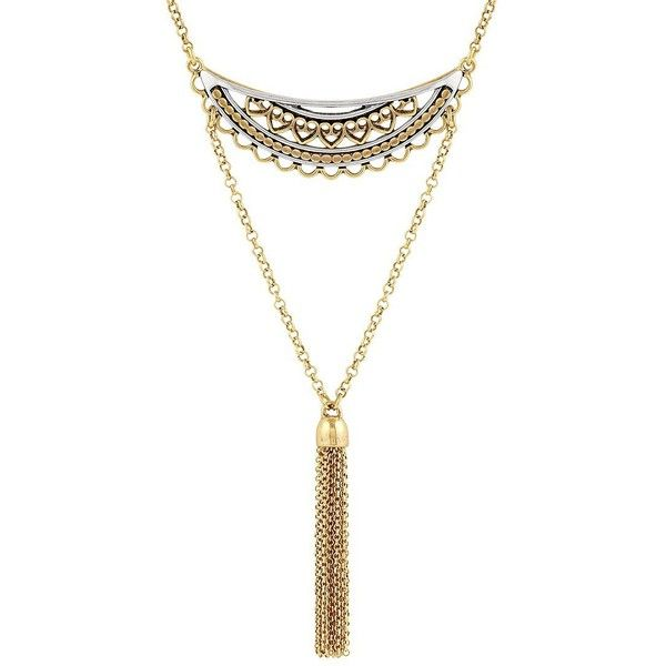 Lucky Brand Semi-Precious Open Work 3-Tiered Multi-Strands Necklace ($35) ❤ liked on Polyvore featuring jewelry, necklaces, gold, multi row necklace, multi chain necklace, multi-strand necklace, semiprecious stone jewelry and multiple strand necklace