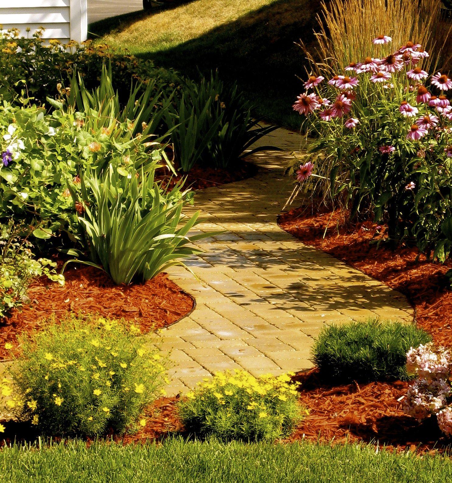 yellow brick road pavers garden walkway garden beds