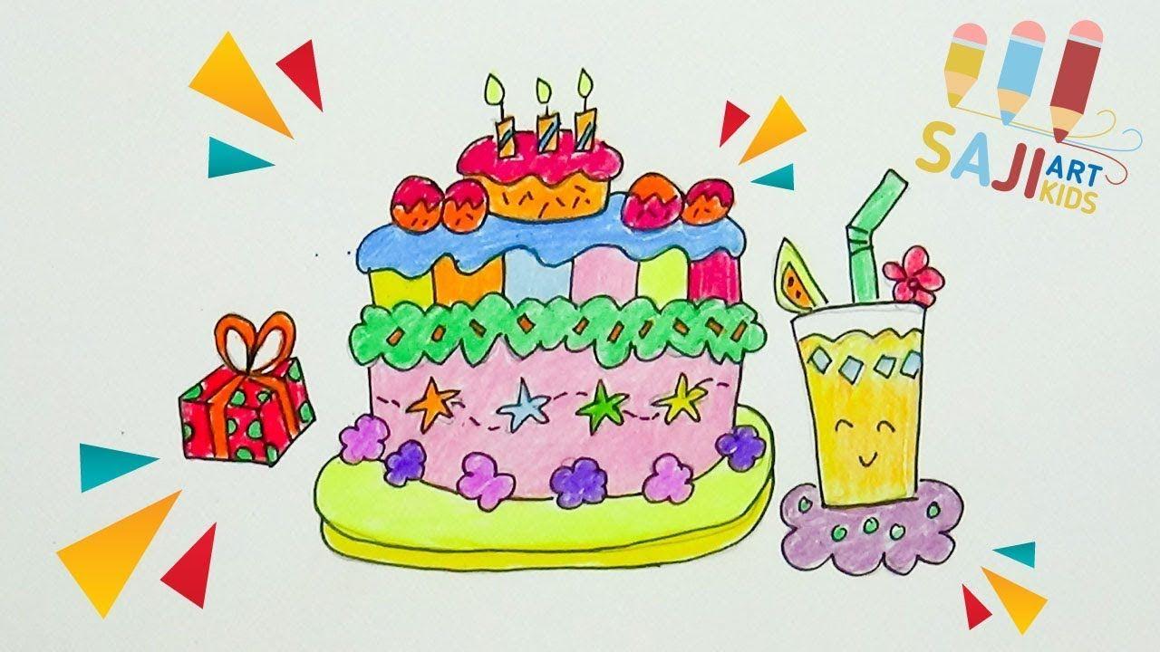 วาดร ประบายส ไม สวยๆ วาดร ปเค กว นเก ดน าร ก How To Draw A Birthday