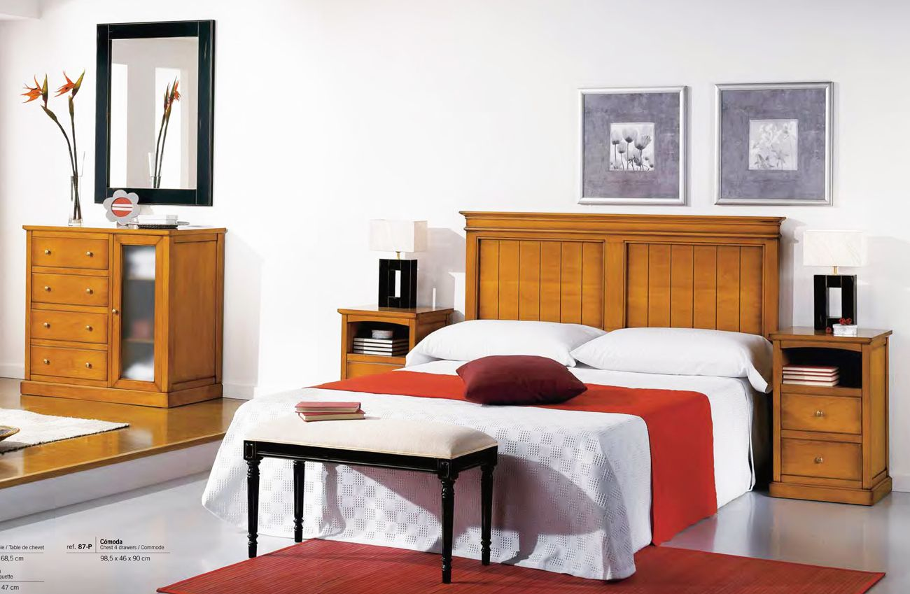 Muebles de dormitorio en madera maciza con cabecero de cama y muebles barnizados en color nogal - Dormitorios juveniles de madera maciza ...
