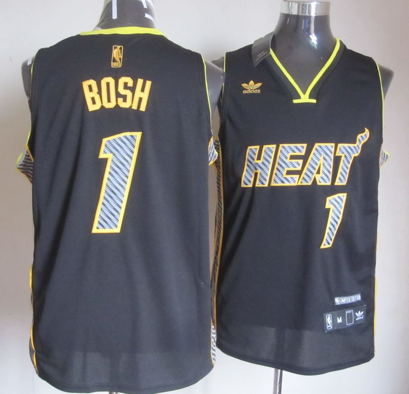 Adidas NBA Miami Heat 1 Chris Bosh Electricity Fashion Swingman Black Jersey 0b31693a1