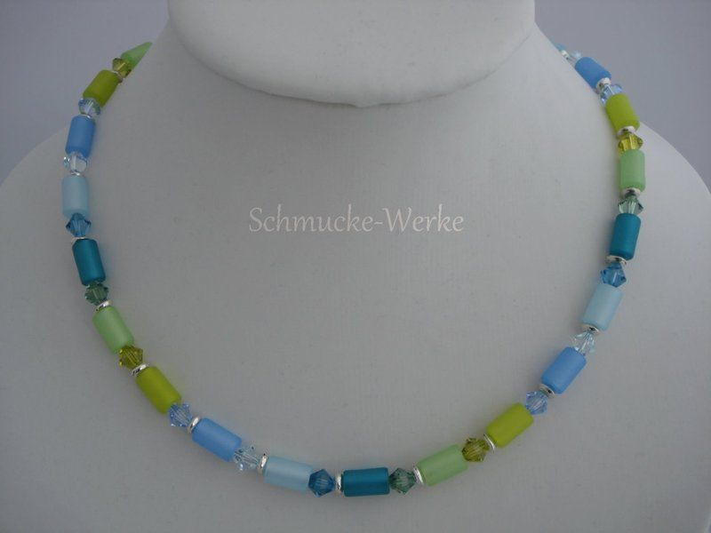 Ketten kurz - Kette Polaris Walzen grün petrol blau - ein Designerstück von Schmucke-Werke bei DaWanda
