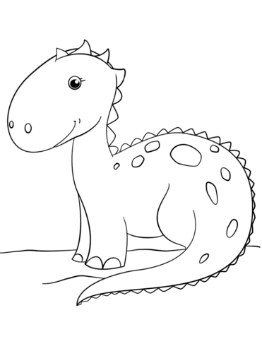 Cute Cartoon Dinosaur Coloring Page From Misc Dinosaurs Category Select 26355 Printable Crafts