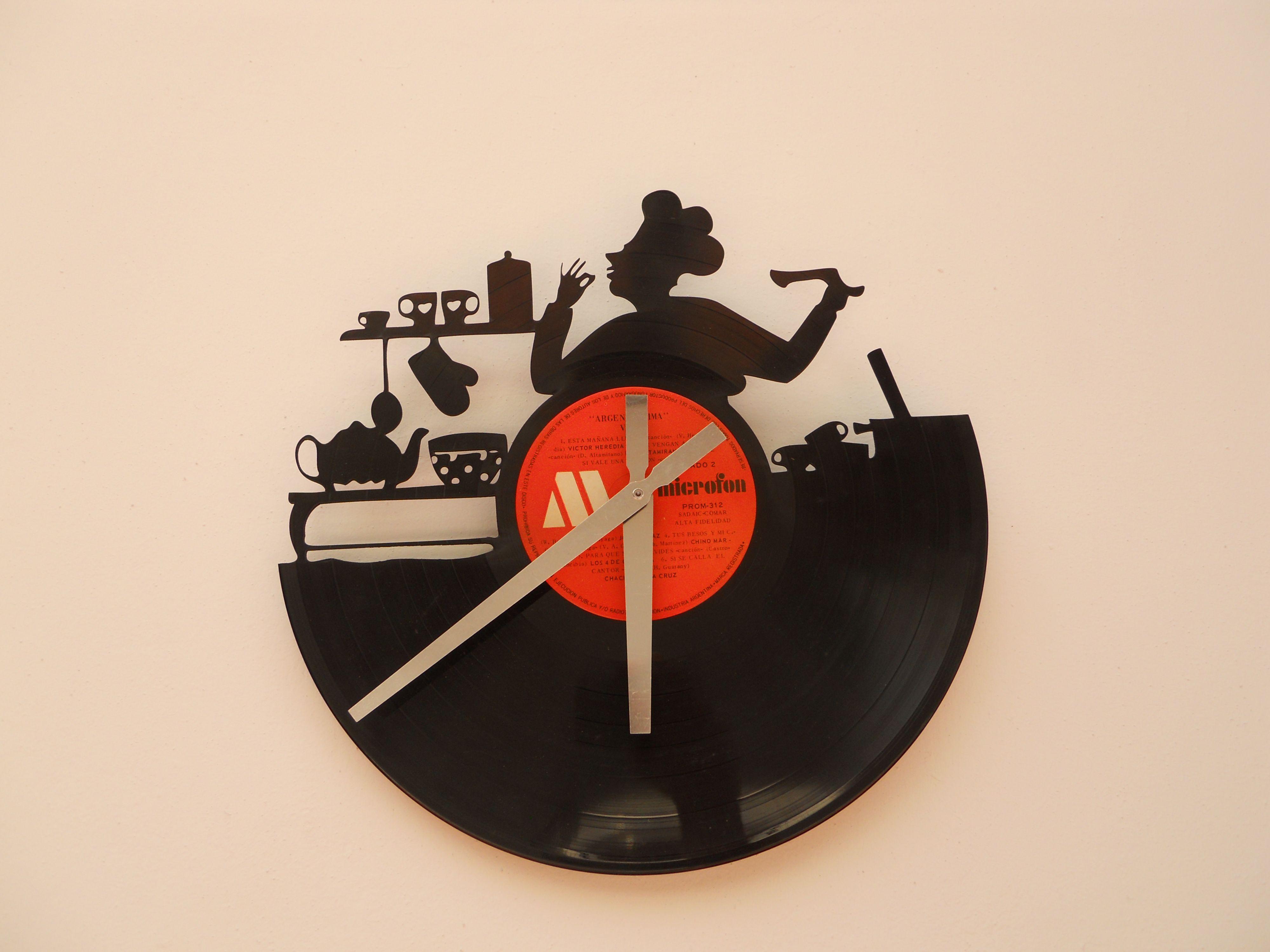 Reloj de pared calado en disco de vinilo laser cutting - Relojes de vinilo ...