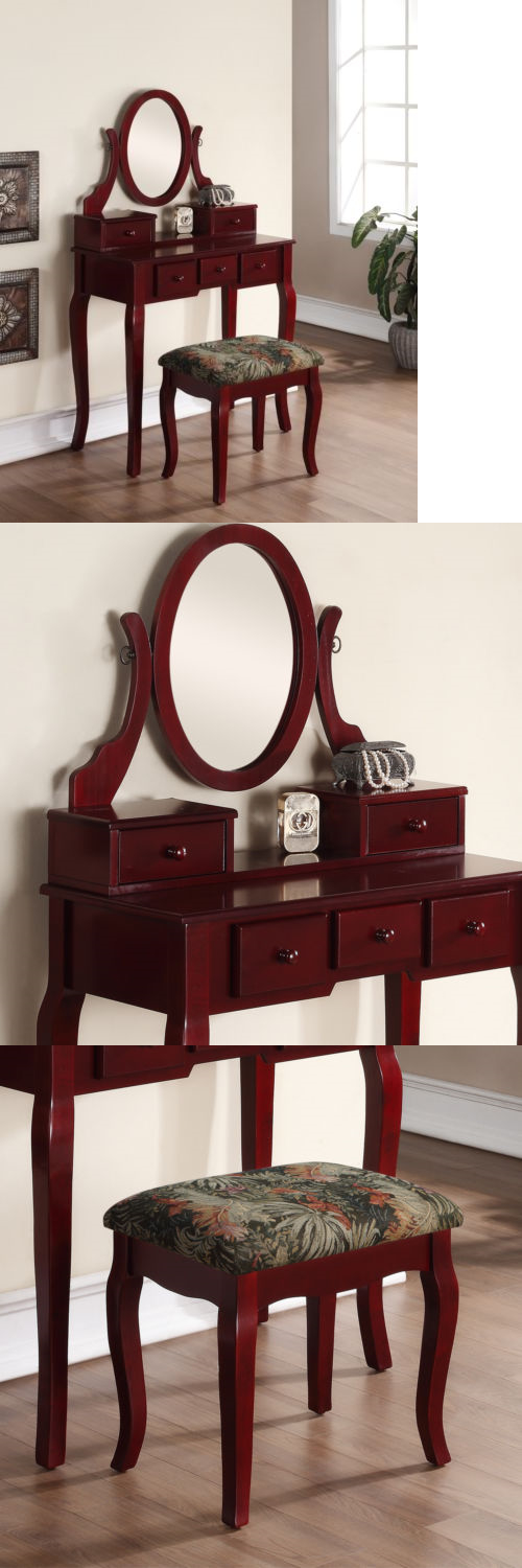 Vanities And Makeup Tables 32878: Ashley Wood Makeup Vanity Table And Stool  Set   Cherry