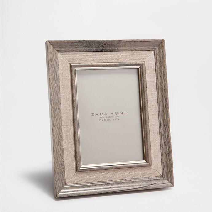 Contrasting Linen Wooden Frame Frames Decoration Zara Home