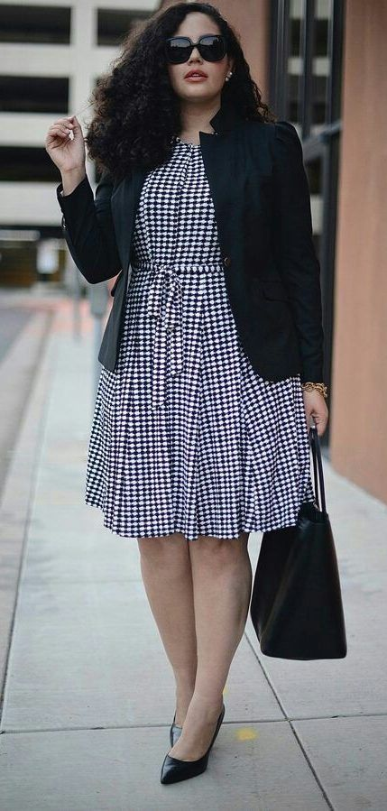 Photo of OutfitOffice outfit ideas for large size women: * Polkadots dress black with …