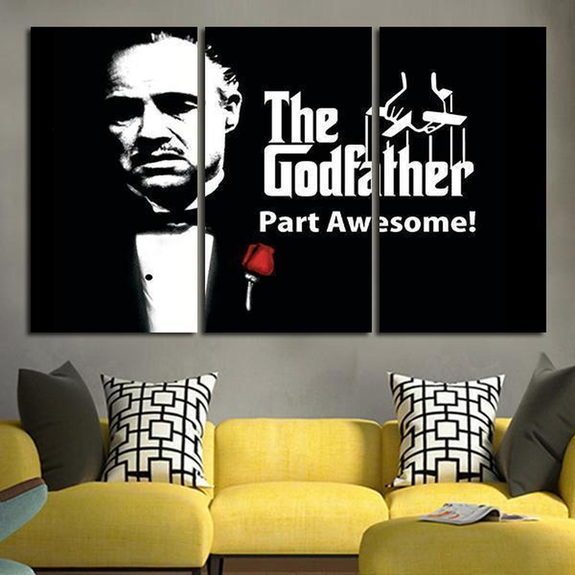 Godfather Movie Modern Wall Art Deco Canvas 3 Panels