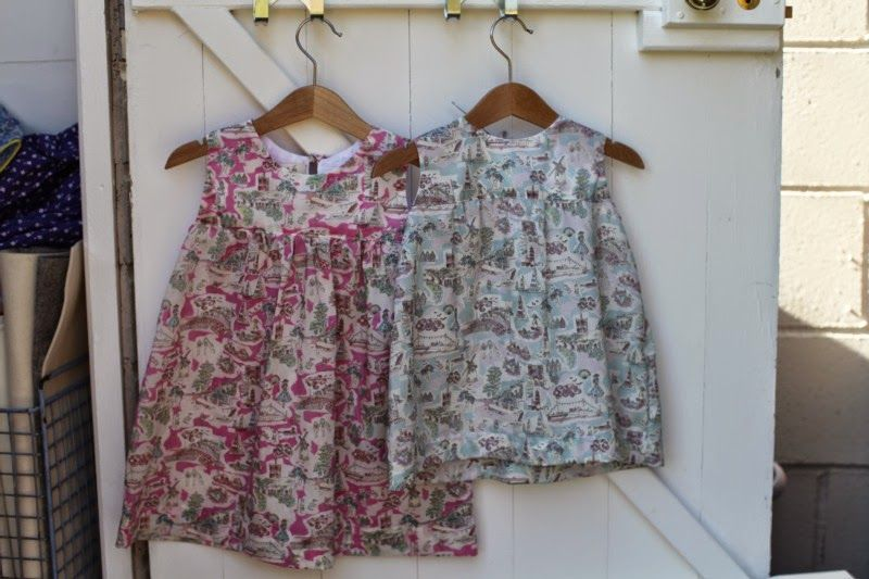 cousin's dresses in Isle of Wight Liberty Print