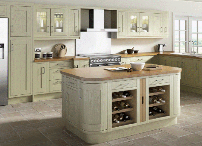 Green painted kitchen in a timeless inframe shaker style