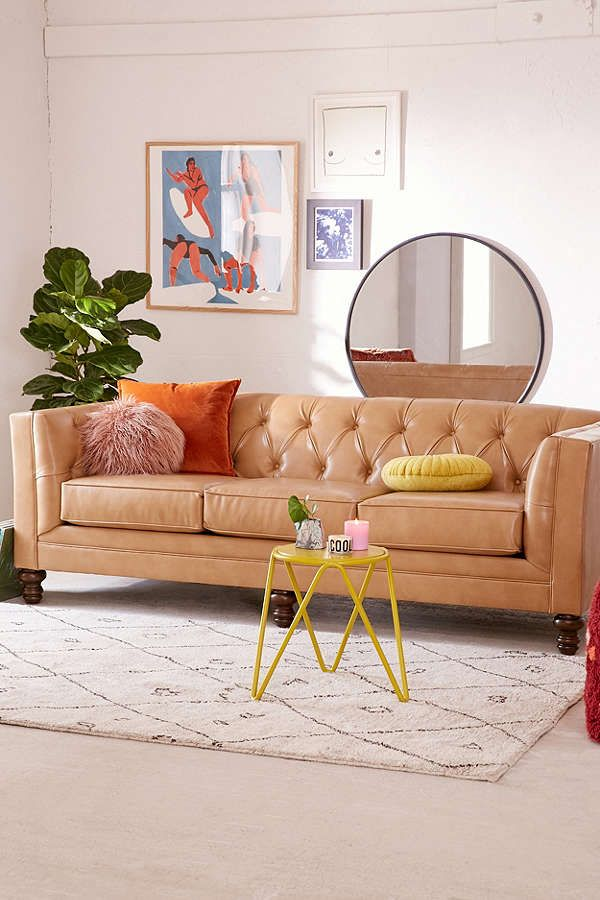 Brown Graham Recycled Leather Sofa At Urban Outfitters | Feminine Living  Room Ideas