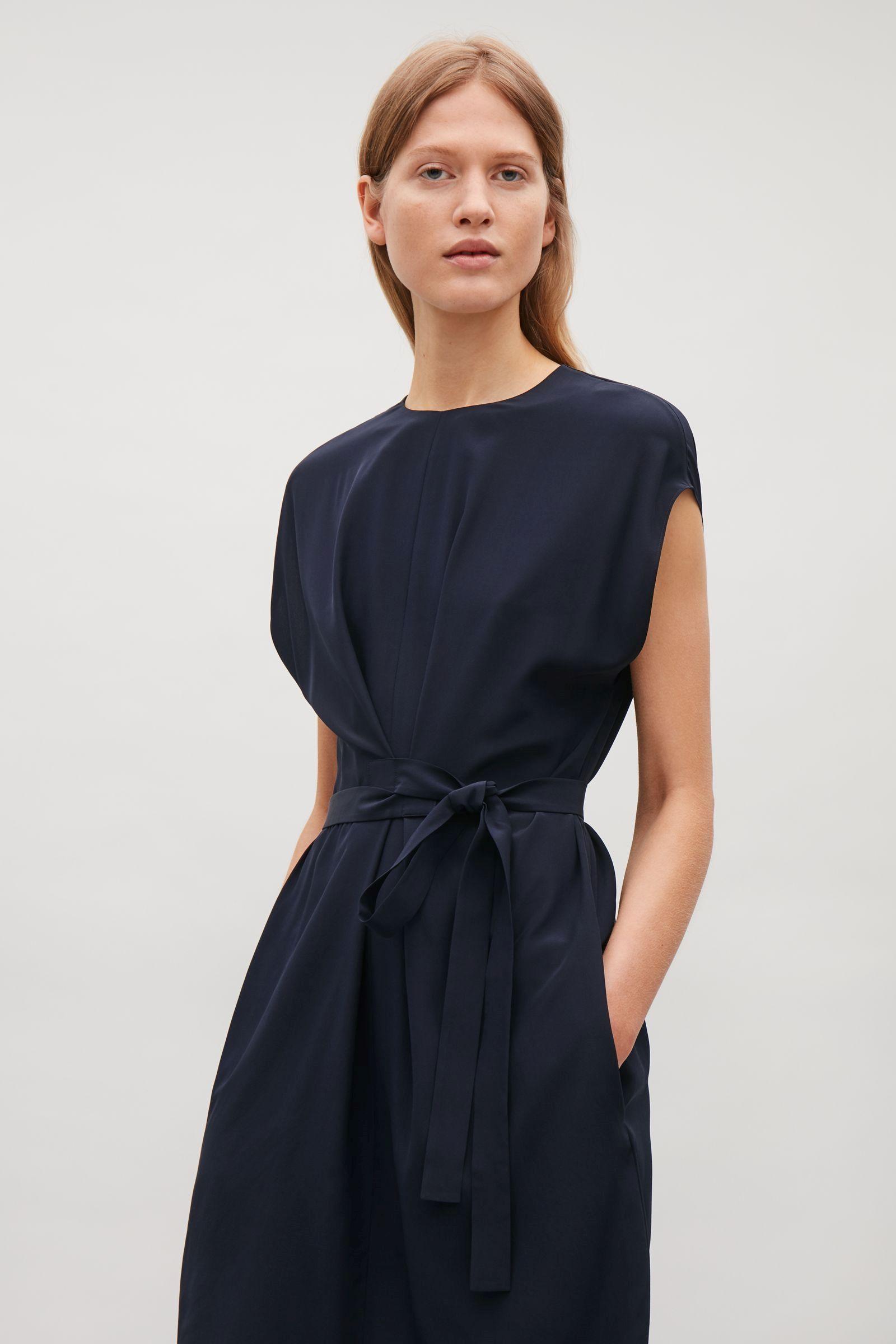 Betere COS image 2 of Silk dress with wrap tie in Navy | Jurk! - Jurken PI-93