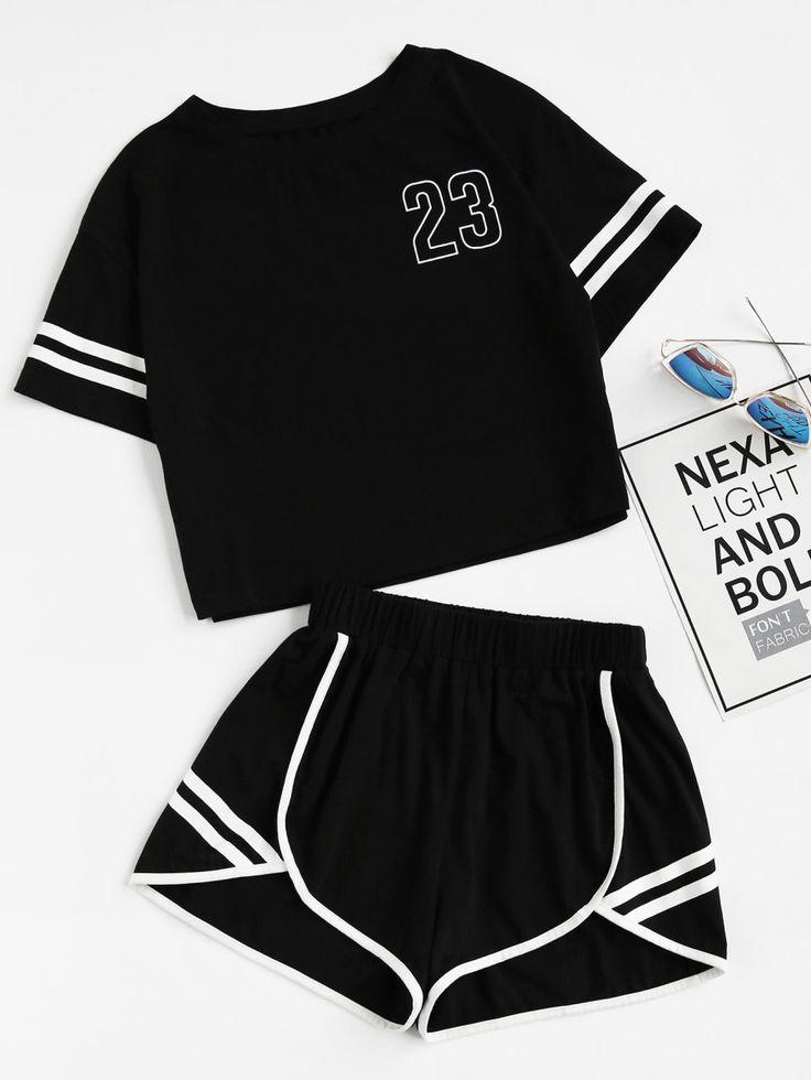 Tee-shirt &Shorts contrasté -French SheIn(Sheinside) - #contrasté #French #SheInSheinside #shorts #T...