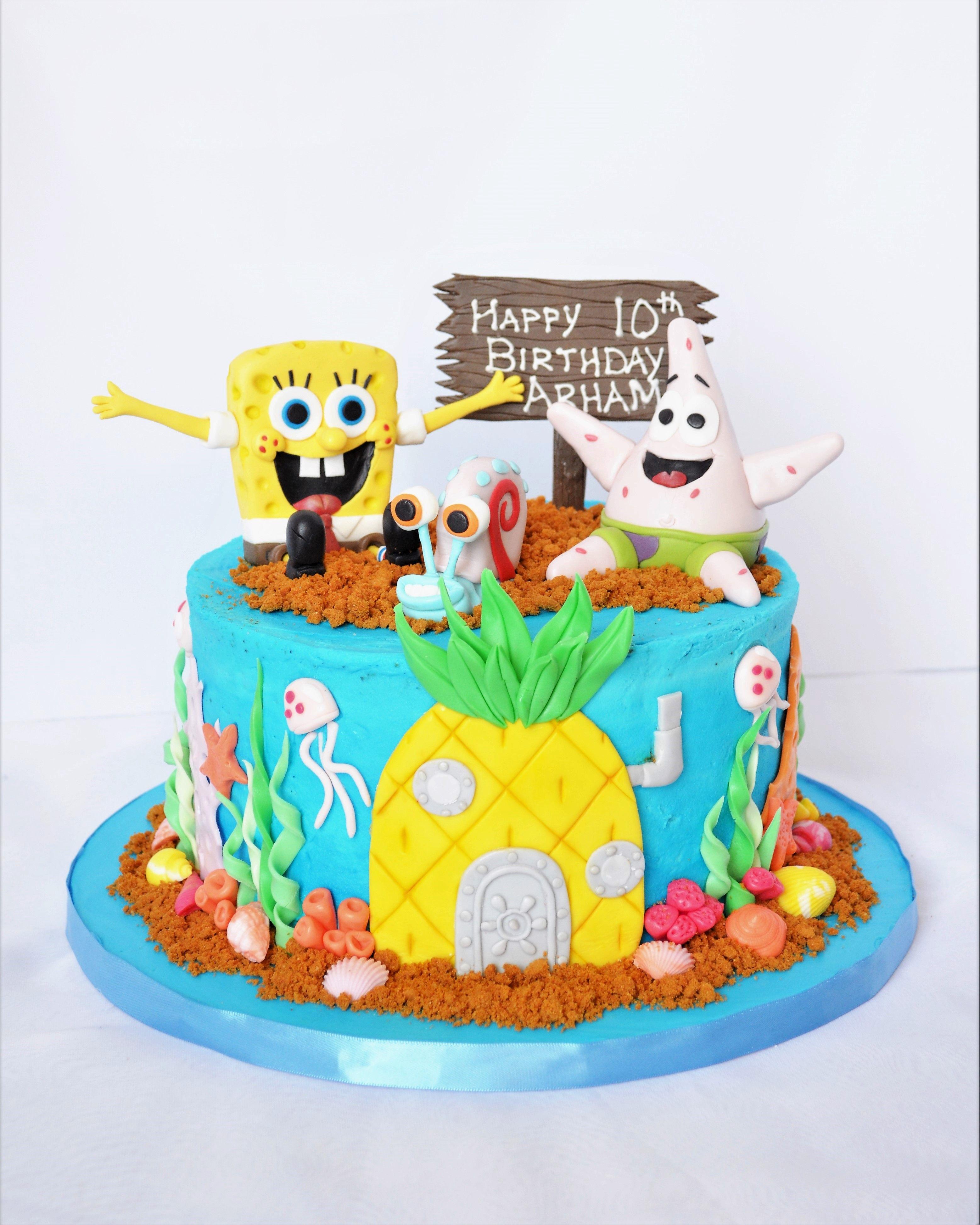 Swell Spongebob Squarepants Birthday Cake In 2020 Spongebob Birthday Cards Printable Inklcafe Filternl