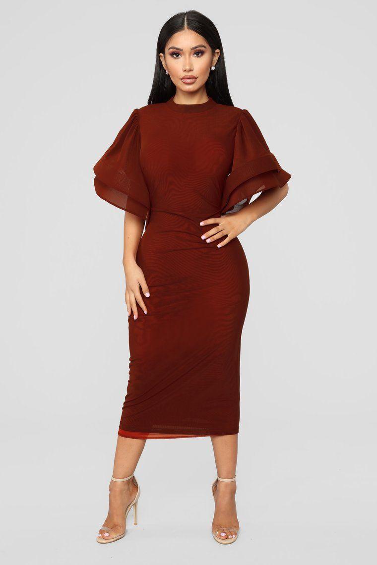 No Drama Ruffle Dress Dark Red Orange Midi Dress Cocktail Dresses With Sleeves Mustard Dress Fashion [ 1140 x 760 Pixel ]