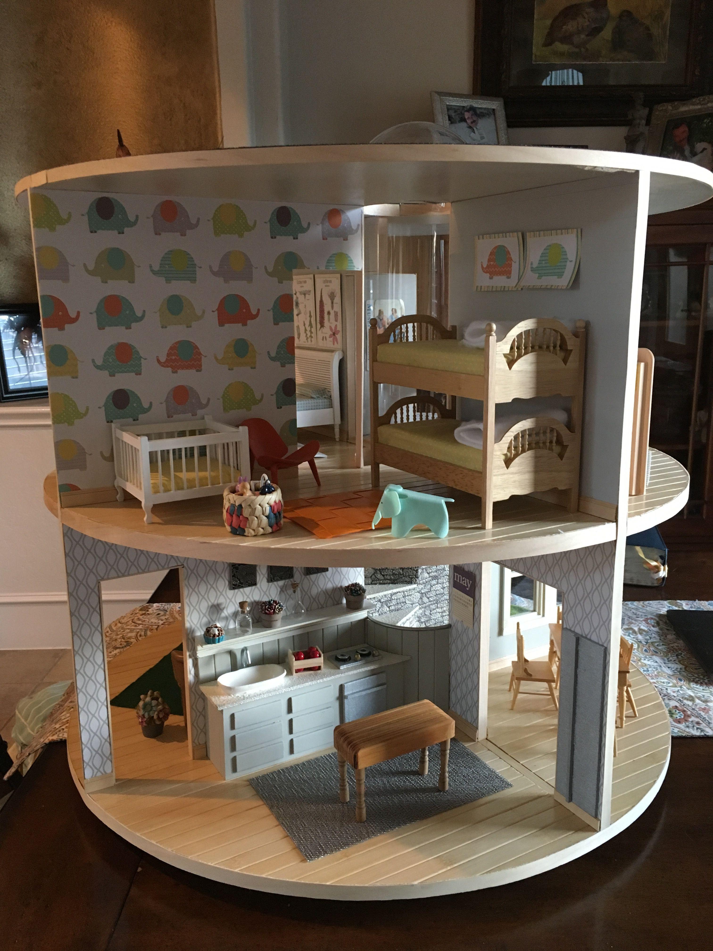 lazy susan dollhouse!! so cool! #dollhouse