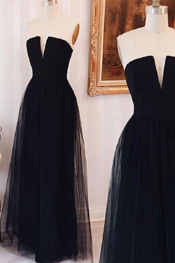 Discount Vogue Bridesmaid Dress Long, Prom Dresses Simple, Bridesmaid Dress Black