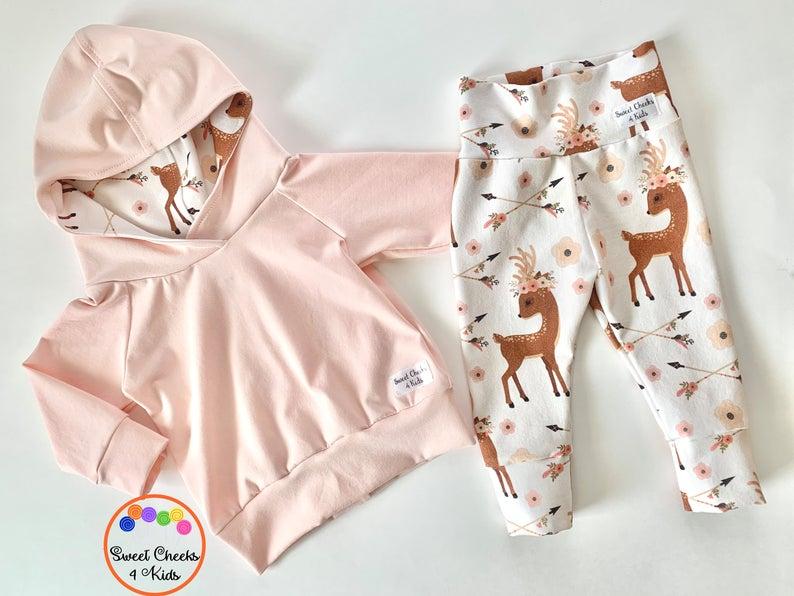 Grey Boho Deer Jogger Set for New Baby Boy or Girl