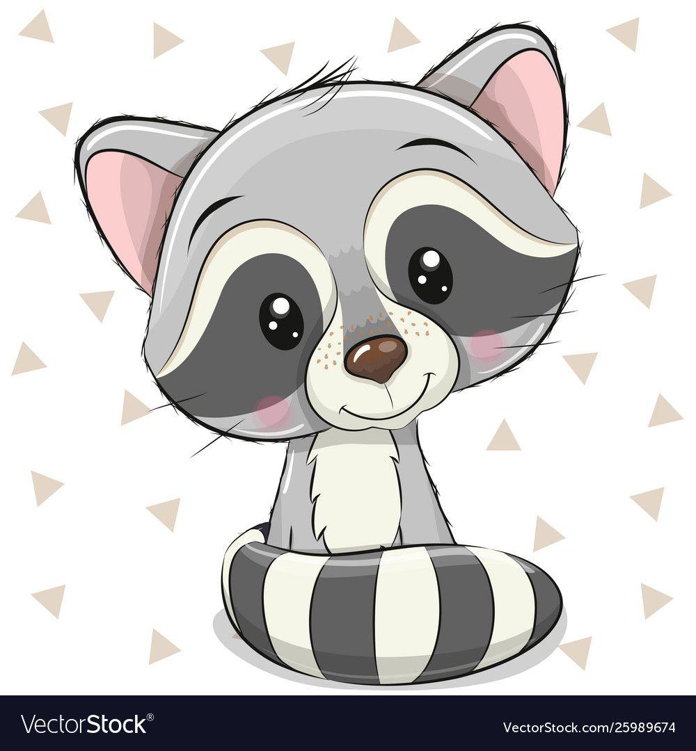 Cartoon Raccoon On A White Background Royalty Free Vector Cute Animal Drawings Cute Drawings Cartoon Animals