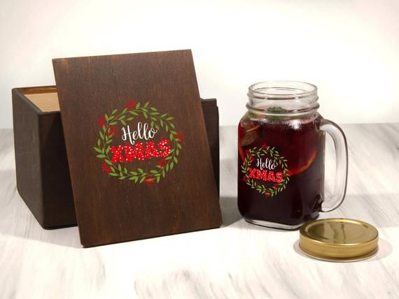 Coworker Christmas Gift Holiday Printed Jar Mug in optional Wooden Box Gift for Girlfriend Christmas Gift Glass Jar Christmas Gift for Her #coworkerchristmasgiftideas