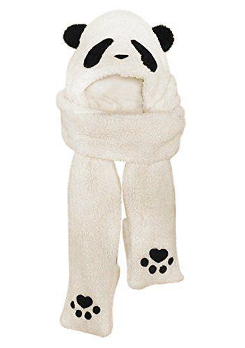 Bonnet écharpe en Fausse Fourrure Casquette Femme Fille en forme de Panda  Cache Cou Cache oreille Animal Ensemble de Tour cou Gants … d5f96867133