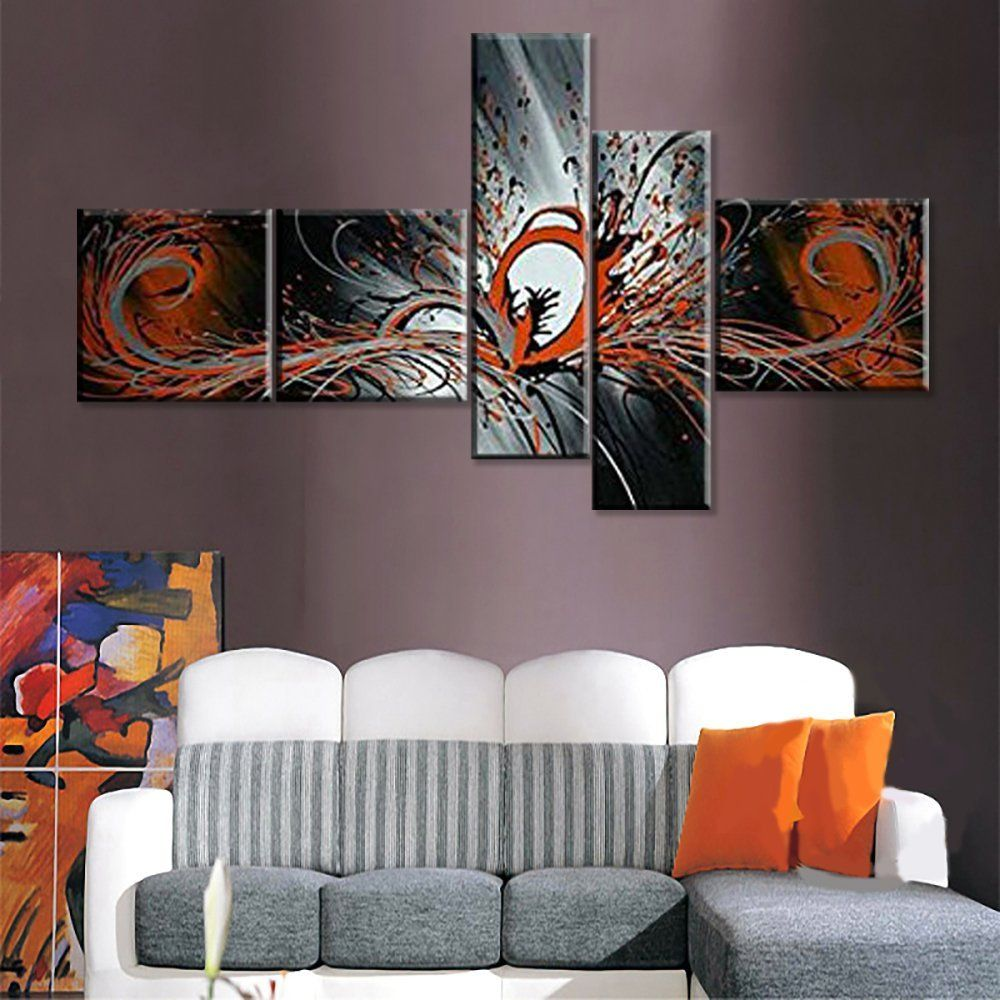 Handmade 5 panel modern abstract oil painting on canvas