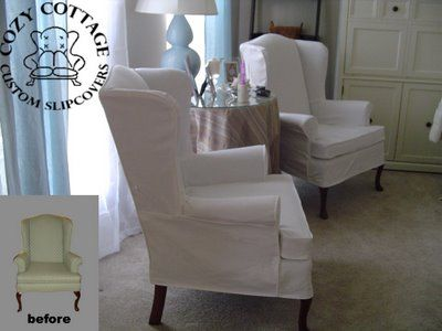 2 Piece Wingback Chair Slipcovers Slipcover chair and ottoman
