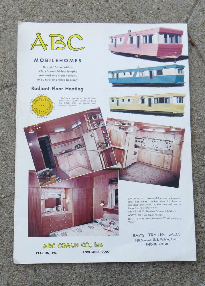 Vintage circa Late 1950s ABC Mobile Home Sales Booklet ... on vintage motorhomes, vintage mobile homes from the 50s, vintage double-decker mobile homes, vintage trailers,