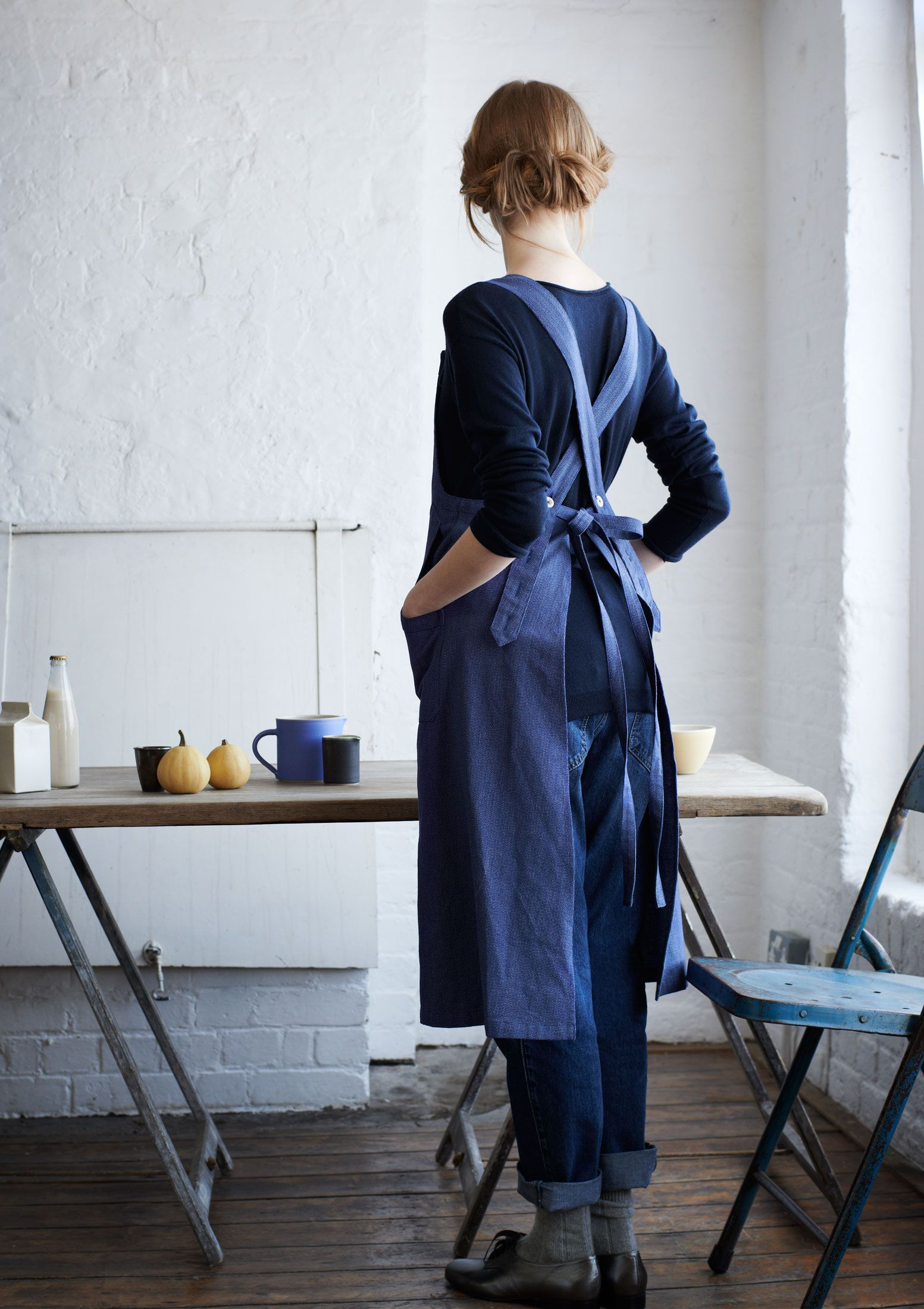 Denim Aprons For Work Uniform Over Simple Jeans And Ts,