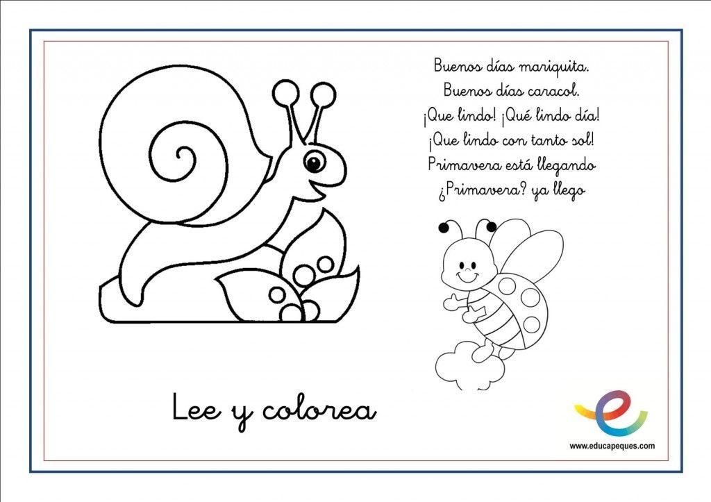 Poemas De Primavera Para Niños Y Niñas. Lee Y Colorea