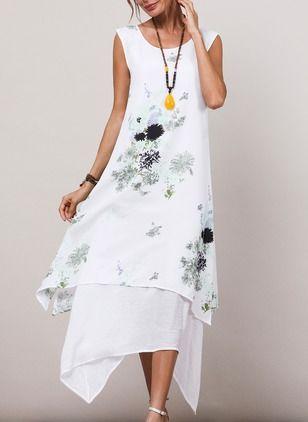 Vestidos Informal Floral Assimétrico De Algodão Linho Sem
