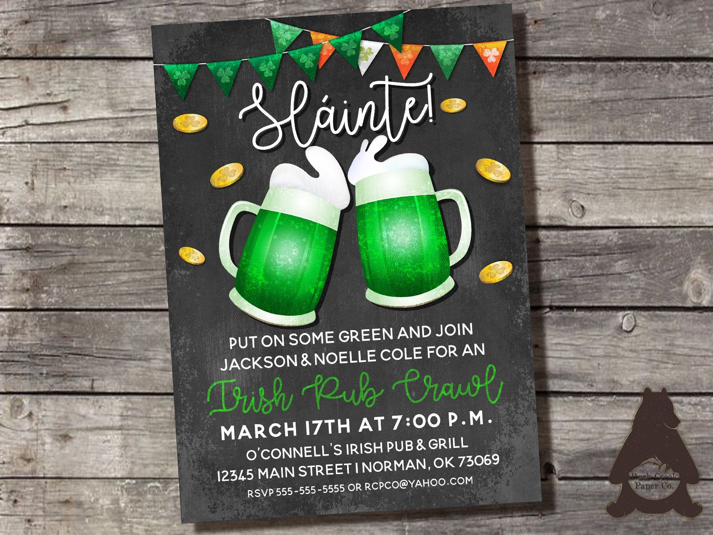 St Patrick S Day Invitation Pub Crawl Invitation Beer Party