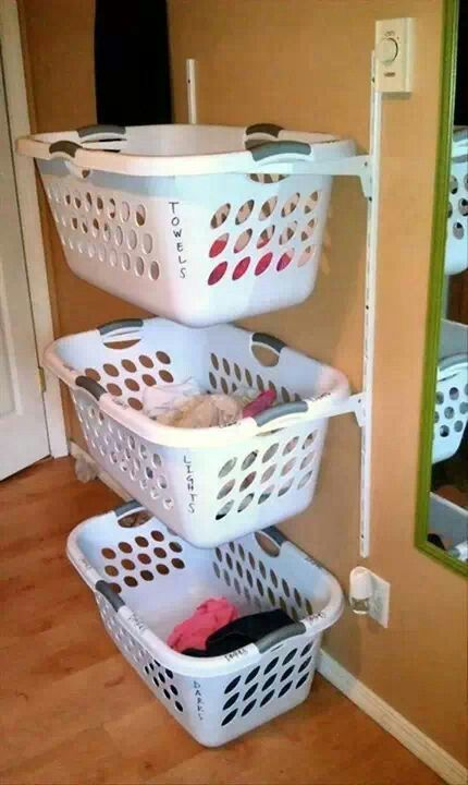 Stacked Laundry Baskets Make More Room Home Diy Home Projects