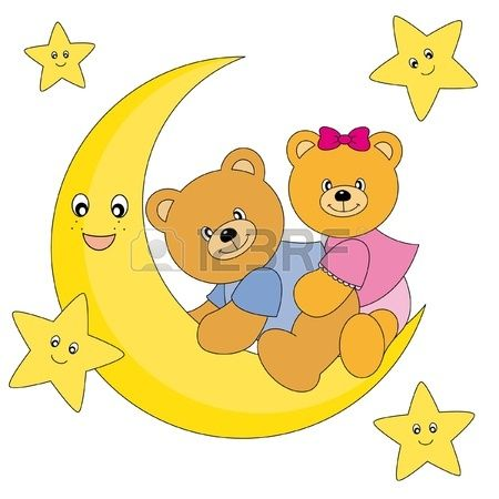 dos osos sentado en la Luna. Fondo blanco dibujo aislado  Foto de archivo