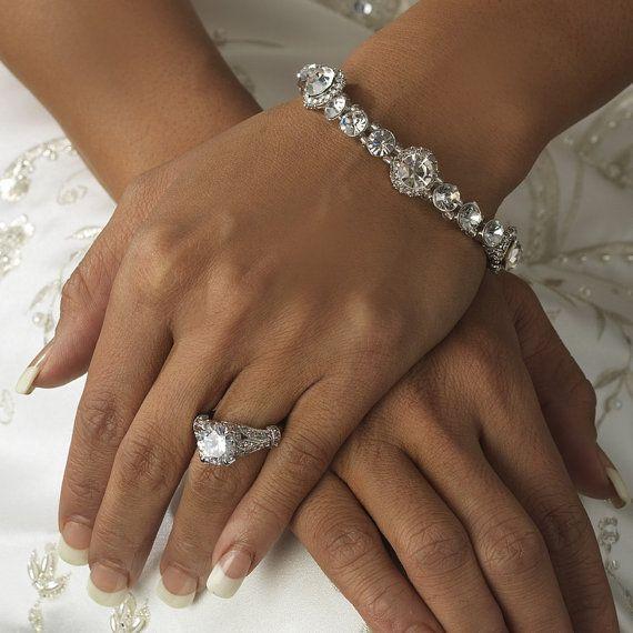 Wedding Bracelet Swarovski Crystal Halo Stretch Bridal Jewelry Bridesmaid Gifts Party On Etsy 36 00