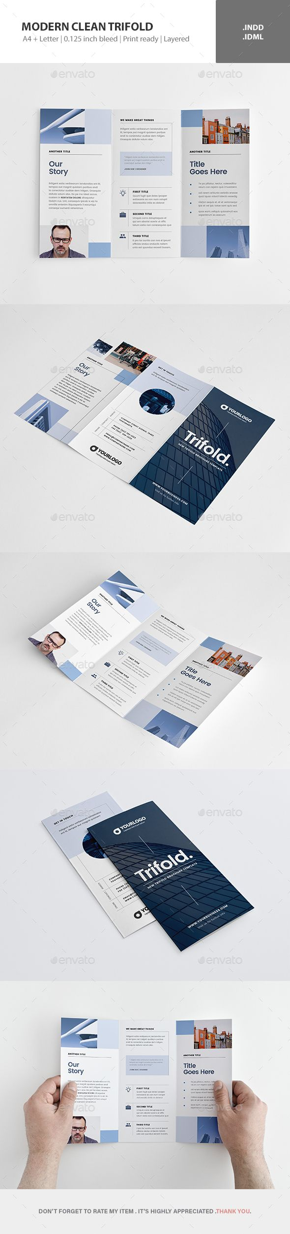 modern clean trifold brochure template indesign indd editorial