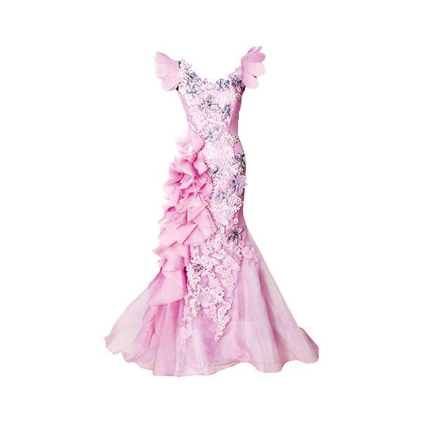 Guo Pei dress - edited by Satinee ❤ liked on Polyvore featuring dresses, gowns, long dresses, vestidos, pink evening gowns, pink dress, pink ball gown and pink gown