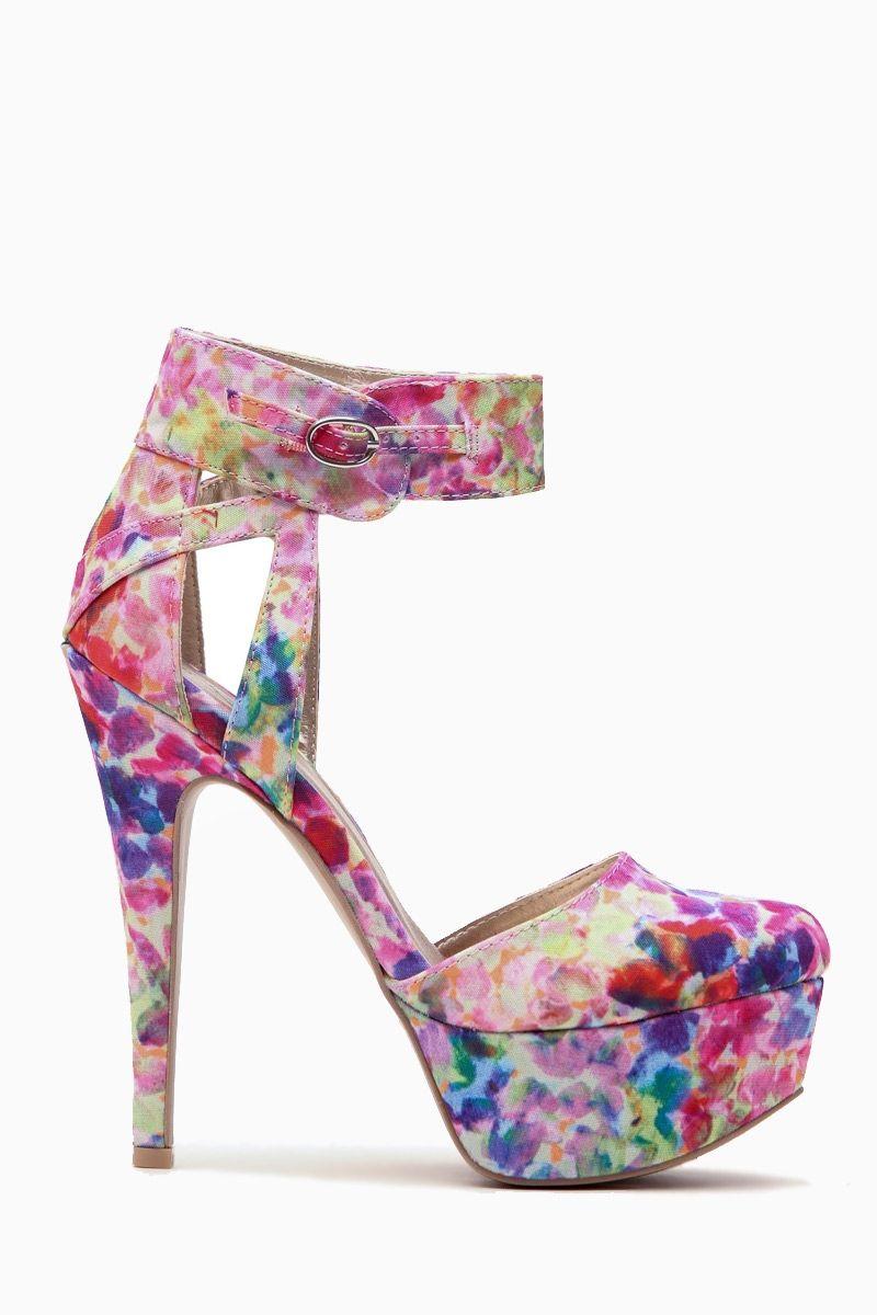 957c71409fad Water Color Print Ankle Strap Platform Heels   Cicihot Heel Shoes online  store sales Stiletto Heel Shoes