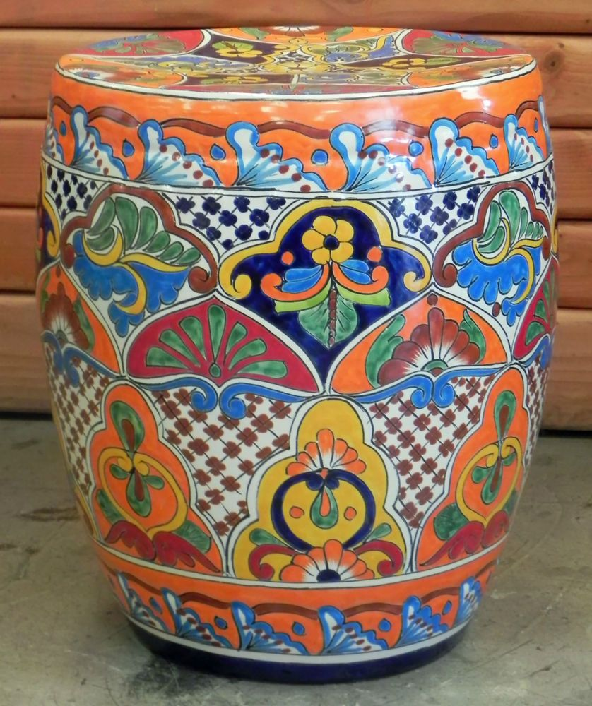 Captivating Large Mexican Talavera Stool/ Table Hand Painted 02